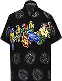 LA LEELA | Funky Camisa Hawaiana | Señores | Manga Corta | Bolsillo Delantero | impresión De Hawaii | Playa | Flor Loro S - Pecho Contorno (in cms) : 96-101 Halloween Negro_W370