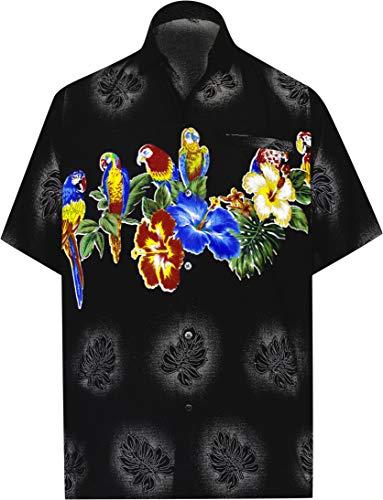 LA LEELA Funky Camicia Hawaiana da Uomo   Maniche Corte   Tasca Frontale   Stampa Hawaiana   Spiaggia Pappagallo   Fiore XS - Torace (in CMS) : 91-96 Nero_W370