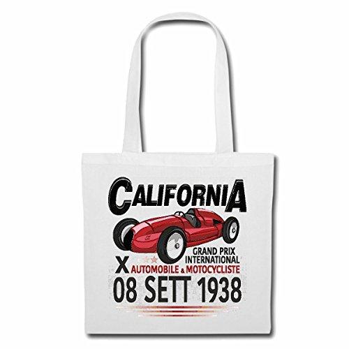 Reifen-Markt Tasche Umhängetasche GRAND PRIX INTERNATIONAL CALIFORNIA 1938 MOTORSPORT FORMEL SPORT AUTOMOBILSPORT RENNSPORT SEIFENKISTE OLDTIMER Einkaufstasche Schulbeutel Turnbeutel in Weiß