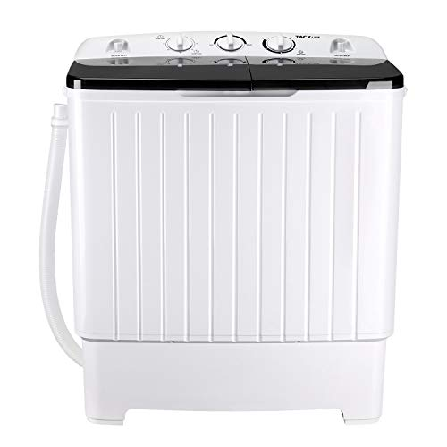 Portable Washing Machine, TACKLIFE 17.6 lbs Mini Compact Twin Tub Washing Machine, Wash (11lbs) and Spin Combo(6.6 lbs), Timer Control with Soaking Function, For Apartment, Dorm, RV, Camping - DSBP171