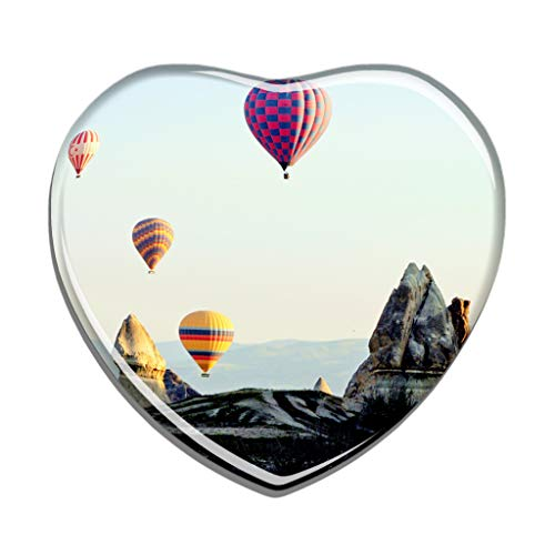 Hqiyaols Souvenir Türkei Heißluftballon Cappadocia Kühlschrankmagnet Herzform Kristall Kühlschrank Aufkleber Magnet Reisen Geschenk Sammlerstücke Andenken
