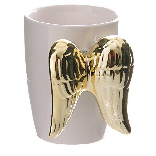Puckator ANG134 - Taza de cerámica (12,5 x 9 x 11 cm), diseño de alas de ángel, Color Blanco y Dorado