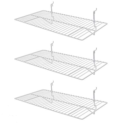 Only Hangers White Wire Slatwall/Gridwal Shelves 24'L x 12'D Pack of (3)