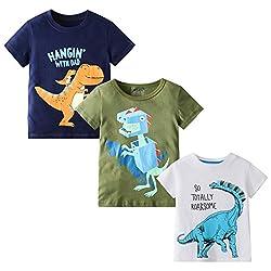 3. MSSMART Toddler Boys Summer Short Sleeve Dinosaur T-Shirts (3-packs)