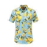 Fansu 3D Camisa Hawaiana para Hombre, Tropical de Manga Corta Impreso Casual Enrrollada Camisas Playa S-XXXL (S,Limón Azul Claro)