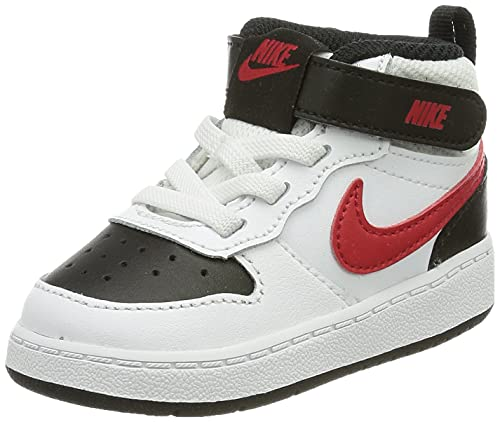 Nike Court Borough Mid 2 BTV, Scarpe da Ginnastica Unisex-Bambini, White/Univ Red-Black, 19.5 EU