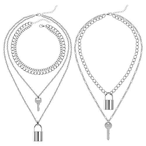 3 Pieces Lock Chain Necklace Egirl Chains Statement Lock Key Pendant...