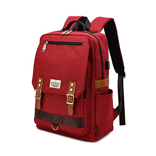 Professional Slim Vintage Laptop Backpack,Casual Durable School College Backpack For Women Men Fits 15 Inch Notebook With USB Charging Port (Red)