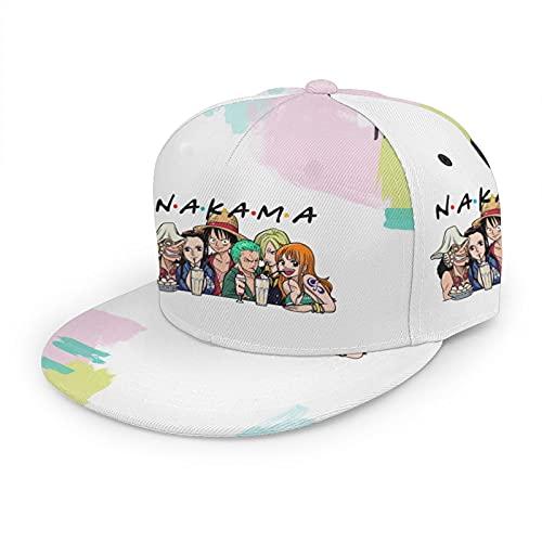 Sombrero de paja de anime para adultos, unisex, con ala plana, gorra de béisbol, color negro, Negro, Talla única