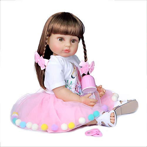 55 Cm Reborn Baby Doll Princess Toddler Girl Touch Suave Tacto Completo Cuerpo De Silicona Coleccionables,Brown Hair