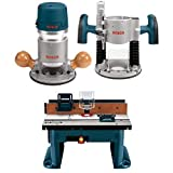 Bosch 1617EVSPK Wood Router Tool Combo Kit - 2.25 Horsepower Plunge Router & Fixed Base Router Kit with a Variable Speed 12 Amp Motor and RA1181 Benchtop Router Table