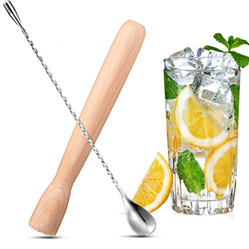 2 Pieces Wooden Cocktail Muddler and Shaker Spoon Set Include Drinks Muddler Bar Muddler 12 Inches Spiral Mixing Spoon Stainless Steel for Making Cocktails Drinks Juice