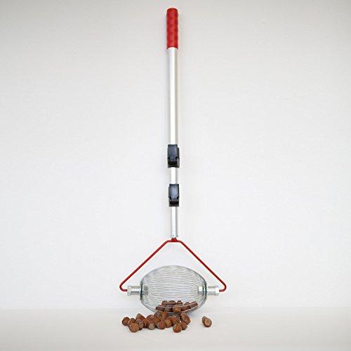 Feucht Obsttechnik Haselnuss-Sammler - mit Teleskopstab - der Roll-Blitz - die kleinste Obstaufsammelmaschine der Welt direkt vom Hersteller für Haselnüsse, Oliven uvm (silber small)