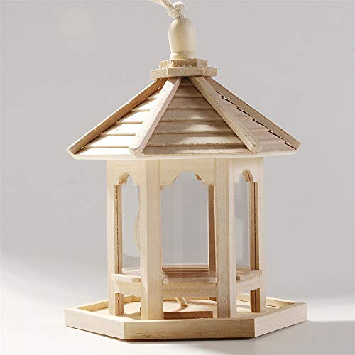 DIYARTS Traditional Solid Wooden Bird Feeder Pagoda Roof Bird House with Transparent Windows for Home Garden Yard Outdoor Pet Decors