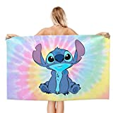 Cute Stitch Pink Bath Towels Quick Dry Super Soft Warmer Beach Towels Oversized 32 in X 51 in for Adults
