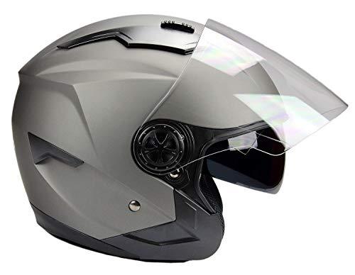 BNO Jethelm mit Langvisier Jet300 Motorradhelm Roller Helm Schutzhelm Matt Schwarz (S-XXL) (XXL)