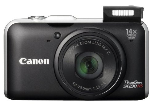 Canon PowerShot SX230 HS Digitalkamera (12 MP, 14-fach opt. Zoom, 7,6cm (3 Zoll) Display, Full HD, GPS, bildstabilisiert) schwarz