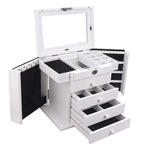 RBH Hölzerne Schmuckschatulle, Schmuckschatulle Schrank, eingebauter Spiegel und Schloss, doppelte Tür Schublade Schmuck Aufbewahrungsbox Mama und Freundin