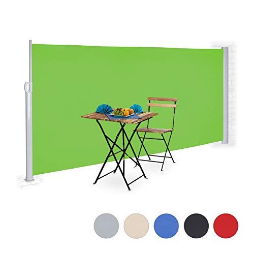 Relaxdays Toldo lateral retráctil, Protección UV, Pantalla de privacidad, Enrollable, 180x300 cm,...
