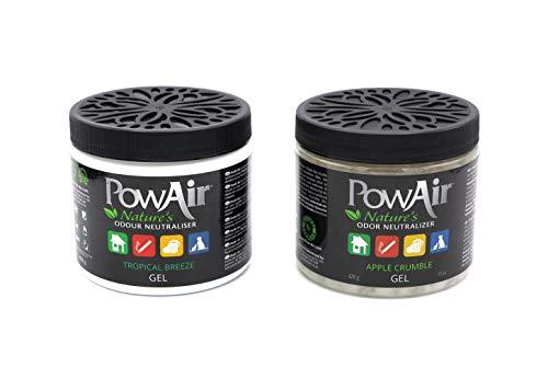 PowAir Gel - Neutralizzatore di odori professionale agli oli essenziali, rigenera l'aria negli ambienti domestici, rilascia un gradevole profumo per 1000+ ore | Soluzione Gel 2 confezioni da 500+500ml