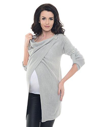 Purpless Maternity Grossesse et Allaitement Cardigan Tricoté Pull pour Enceinte Femmes Haut Veste 9005 (40/42, Light Gray)