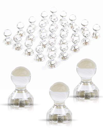 JOAM ® Neodym Magnete – extra hohe Funktion dank einfacher und schneller Befestigung von Notizen z.B. an Magnettafel - Zubehör für Büro, Haushalt, Schule - transparente Magnete weiß