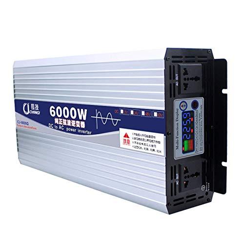 QXYA High-Power Pure Sine Wave Inverter 12V 24V 48V 60V bis 220V 600W,1000W,2000W,3000W,4000W,5000W,6000W Home Transformer Car Power Inverter mit Dual Digital Display, langlebig