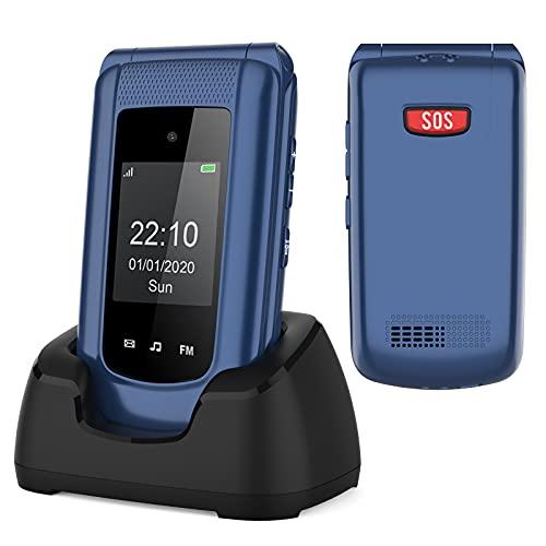 Uleway Teléfono Móvil para Personas Mayores, Teléfono Móvil con Teclas Grandes Doble Pantalla de 2,4 y 1,77 Pulgadas, Base de Carga Botón de Emergencia SOS Doble SIM Radio FM Cámara Linterna - Azul