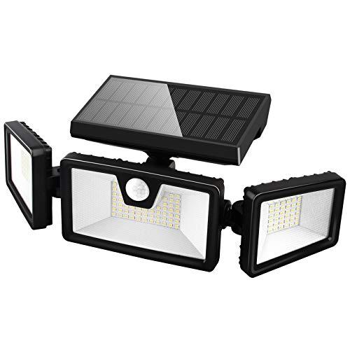 Otdair Solar Security Lights, 3 Head Adjustable Motion Sensor Lights 132 LED Flood Lights Outdoor Spotlights 360° Rotatable IP65 Waterproof for Garden Patio Yard Porch Garage Pathway