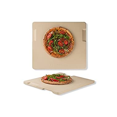 Pizza Stone 14  x 16  Rectangular Baking & Grilling Stone, Perfect for Oven, BBQ and Grill. Innovative Double - faced Built - in 4 Handles Design