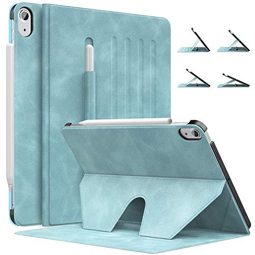 MoKo Hülle Kompatibel mit iPad Air 4. Generation 2020 Neu iPad 10.9 Zoll 2020, Schutzhülle Stifthalter Unterstützt Apple Pencil 2 Laden, Multi-Winkel Magnetischer Ständer, Wolkenblau
