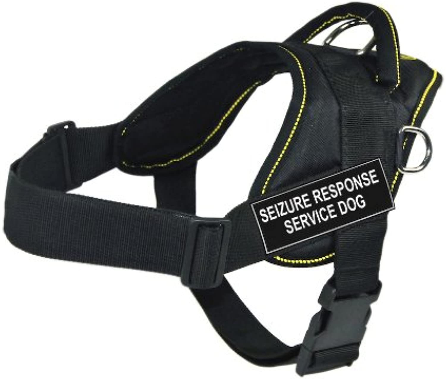 Dean & Tyler   DT Fun   Small, fits girths  22 inches to 27 inches, Black with Yellow Trim Nylon Harness, Pair of SEIZURE RESPONSE SERVICE DOG Patches