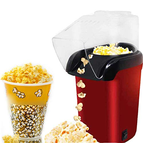 Orderking Popcorn Maker Machine 900W Electric Home Hot Air Popper Maker Popcorn Popper Machine with Top Cover No Oil Healthy Snack for Kids Adults Removable Measuring Cup Perfect for Party Birthday