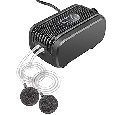 IREENUO Aquarium Air Pump, 3W - 2 * 150L/H Fish Tank Oxygen Pump for Fresh & Salt Water with 2 Outlets Air Stones