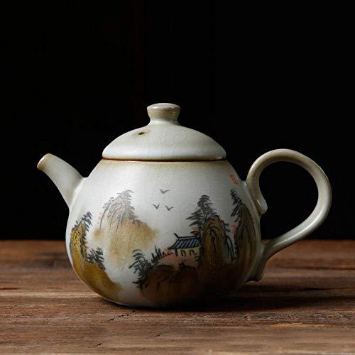 JHSHENGSHI Tetera Colador Juego de té Tetera pequeña Pintada a Mano Jingdezhen Kungfu Hervidor doméstico