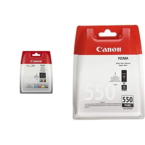 Canon CLI-551 4 Cartuchos Multipack de tinta original Negro/Cian/Magenta/Amarillo + PGI-550 Cartucho de tinta original Negro para Impresora de Inyeccion de tinta Pixma