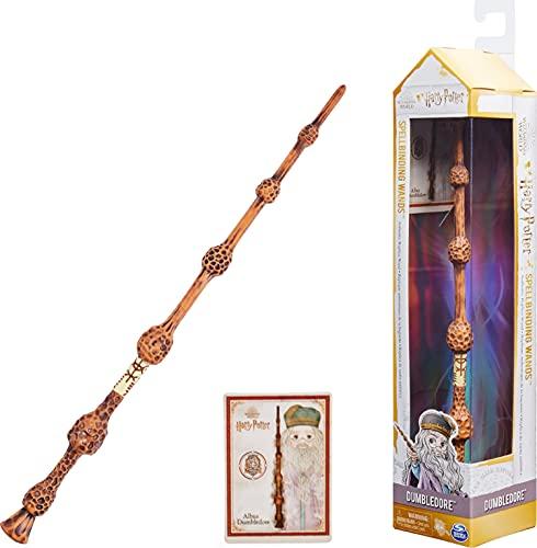 Harry Potter - Authentischer Albus Dumbledore Zauberstab aus Kunststoff mit Zauberspruch-Karte, ca. 30,5 cm