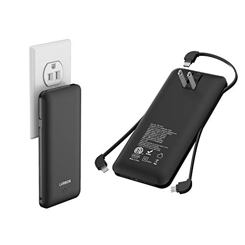 LURBON 10000 mAh Portable Charger Power Bank Ultra Slim External Battery Pack with Built in AC Plug, Type-c Cable,Micro Cable and Other Cable for Cell Phone