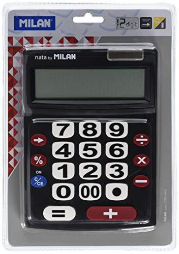 Milan 151712BL rekenmachine, 12-cijferige, grote toetsen, zwart