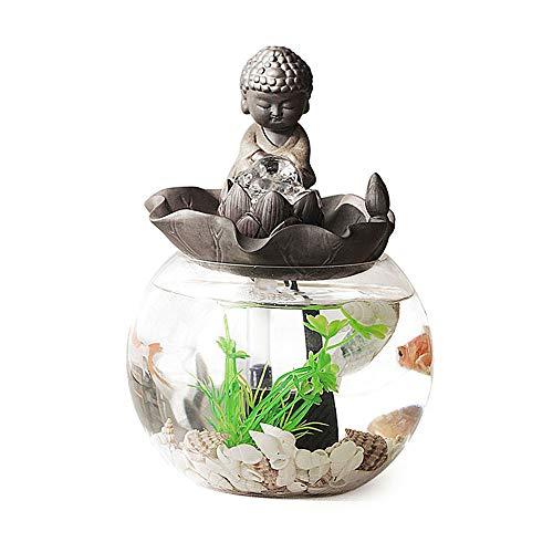 PULLEY Tanque de peces redondo creativo de vidrio mini acuario Kit de agua autocirculante para enviar plantas de simulación decoración del hogar (tamaño: longitud: 14 cm altura: 21 cm)