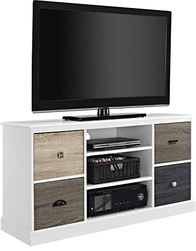 """Ameriwood Home 1739096 Mercer TV Console with Multicolored Door Fronts for TVs up to 50"""", White"""