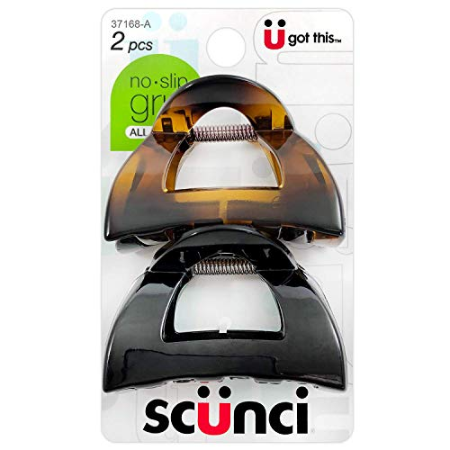 Scunci No-Slip Grip 5.5 cm Jaw Clips, All Day Hold, 2-Count Per Pack (1-Pack Total)