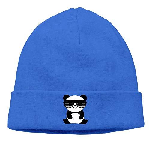 Jacen shop Nerd Panda con bigote y gafas suave Squat Cap cálido acolchado invierno sombrero hombres Nerd Panda con bigote y gafas invierno cálido sombrero