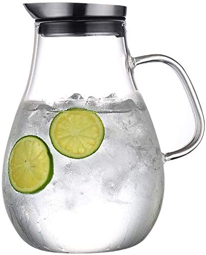 2,5 l Jarra de vidrio con tapa, agua jarra jarro de agua fría / caliente, resistente al calor jarra de vidrio borosilicato, dispensador de agua, bebidas heladas hechas en casa del jarro de té y zumo