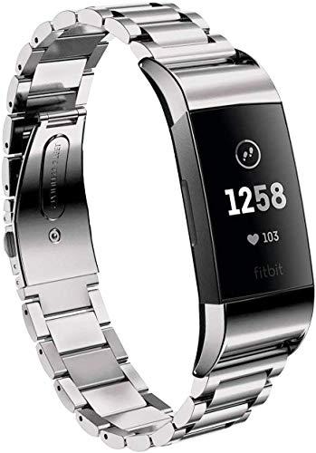 Aimtel Armband Kompatibel mit Fitbit Charge 3 Armband/Fitbit Charge 4 Armband, Edelstahl Metall Ersatzarmband Uhrenarmbänder Kompatibel mit Fitbit Charge 3/Charge 3 SE/Charge 4/Charge 4 SE(Silber)