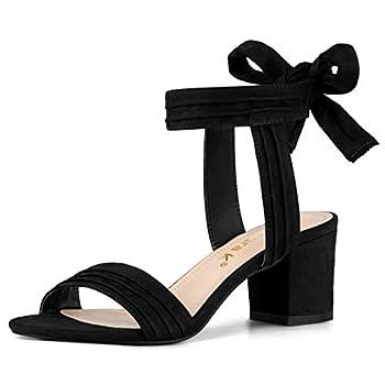 Allegra K Women s Open Toe Ankle Tie Back Black Block Heel Sandals - 8 M US
