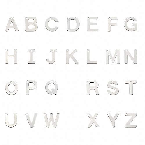 PandaHall 52pcs Lettera A-Z ciondoli in Acciaio Inossidabile con Lettera ciondoli in Metallo con Lettere dell'alfabeto per Braccialetti, Collana, Artigianato, Colore Acciaio Inossidabile, 7-11 mm