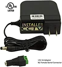 InstallerCCTV DC 12V 2 Amp Power Adapter, 2.1mmx5.5mm, UL Listed, Wall Plug, 4 Foot Cord (2A, UL Listed)
