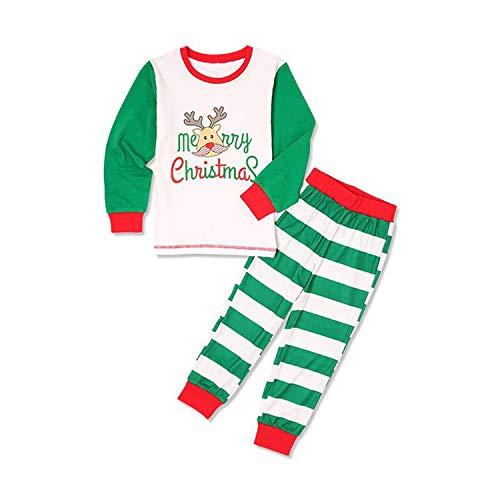 GZQ 1 Set Pijamas de Navidad para Niño, Pijamas de Dormir,Camisetas de Manga Pantalón Larga,Ropa del Inverto,Pijamas de Rayas Verdes para Ninos