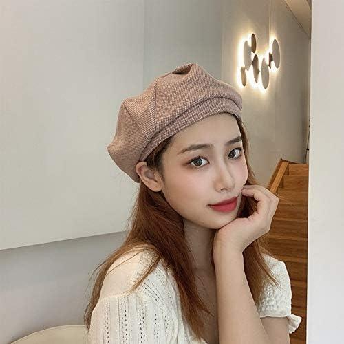 Syogo Baretten herfst en winter baret vrouwen effen kleur wollen knop pompoen hoed